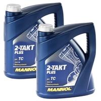 MANNOL 2-Takt Plus 8L Öl für Motorrad und Roller API TC 2x4 Liter