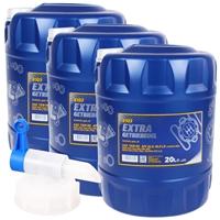 MANNOL Extra Getriebeöl 75W-90 API GL 4/GL 5 LS, 3x20 Liter + Hahn