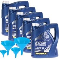 MANNOL Hypoid Getriebeoel 80W-90 API GL 4/GL 5 LS, 5x4 Liter + Öltrichter 4-teilig