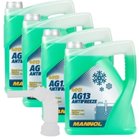 MANNOL Hightec Antifreeze AG13 -40°C, Grün, 4x5 Liter + Tube