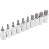 TECPO Steckschlüsselsatz, Innenvielzahn Nüsse, 1/2 Zoll, 10-teilig