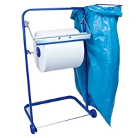 Bodenständer für Putztuchrollen mit Müllsackhalterung