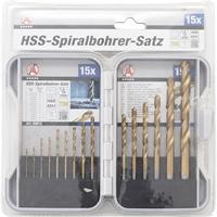 HSS Spiralbohrer Satz | titan-nitriert | 1.5-10 mm | 15-teilig