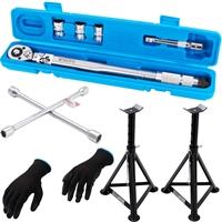 Radwechselwerkzeug Set : Drehmomentschlüssel +  Radkreuz +Unterstellböcke + Mechaniker-Handschuhe