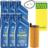 Mann Ölfilter + 6L Aral Öl 5W-30, LL3, VW 504 00 / 507 00