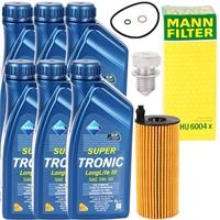 Mann Ölfilter + Schraube + 6L Aral Öl 5W-30, LL3, VW 504 00 / 507 00