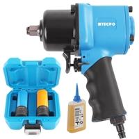 TECPO Druckluft Schlagschrauber 1700 NM 1/2 Zoll + Steckschlüssel 17-19-21 mm + Öler