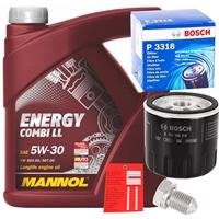 Bosch Ölfilter + Mannol Combi LL Motoröl 5w-30, 5L+Schraube+Ölzettel