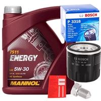 Bosch Ölfilter P3318 + Mannol Motoröl 5w-30, 5L +Schraube+Ölzettel