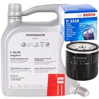 Bosch Ölfilter + OE VAG VW AUDI 5w-30 Öl, 5L +Schraube+Ölzettel