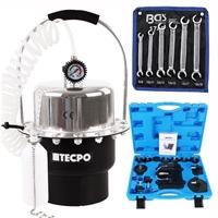 TECPO Druckluft-Bremsenentlüftungsgerät 5L + BGS Bremsenentlüftungsschlüssel Satz