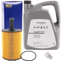 SCT Ölfilter + Original VAG Motor-Öl 0W-30 Longlife 3, 5 Liter, 504 00, 507 00