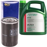 SCT Germany Ölfilter + FANFARO 5W-30 VW 504.00 507.00, 5 Liter