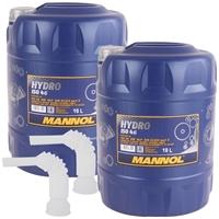 Mannol Hydro ISO HLP 46 Hydrauliköl, 2x10 Liter + Ausfüllschlauch