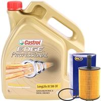 SCT GERMANY Ölfilter + Castrol Edge Longlife III VW 504 00 / 507 00, 5W-30 5L