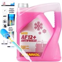 Mannol Antifreeze Kühlerfrostschutz AF12+ -40°C, Rot-Lila, 5 Liter + BGS Frostschutzprüfer