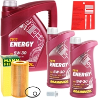 Mann-Filter Ölfilter + Mannol Energy 5W-30 MB 229.3, 7l