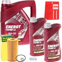 Mann-Filter Ölfilter + MANNOL Energy Combi LL 5W-30 API SN/CF, 7 Liter