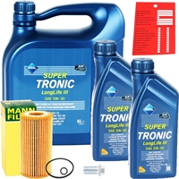 Mann-Filter Ölfilter + ARAL Super Tronic Longlife III Motoröl 5W-30, MB 229.51, 5l