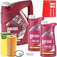 Mann-Filter Ölfilter + MANNOL Diesel TDI 5W-30 Motoröl API SN/CF 7 Liter