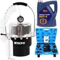 TECPO Druckluft Bremsenentlüftungsgerät 5L + Bremsflüssigkeit 5kg