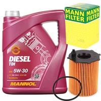 Mann Ölfilter + 5 Liter Mannol TDI Diesel Motoröl, 5w30
