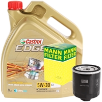 MANN-FILTER Ölfilter + CASTROL Motoröl EDGE 5W-30 ACEA C3, 5 Liter