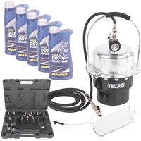 TECPO Druckluft Bremsenentlüftungsgerät + 5 Liter Mannol Bremsflüssigkeit DOT4