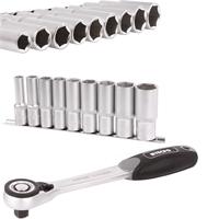 Steckschlüssel-Einsätze, tief, 10-24 mm, 12,5 (1/2), 9-tlg. + TECPO Umschaltknarre 1/2 Zoll 72 Zähne feinverzahnt, 512 nM