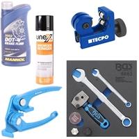BGS Bördelgerät +TECPO Rohr Biegezange für Rohr Durchmesser 3, 4.75, 6 mm + Rohrabschneider 3-16 mm + MANNOL Brake Fluid DOT-4 + Bremsenreiniger-Spray 500 ml