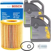 Bosch Ölfilter + 5W-30 Mercedes Benz Motoröl, 10 Liter
