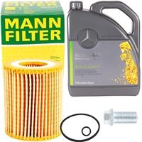 Mann-Filter Ölfilter + Mercedes 5W-30 Motoröl, 5 Liter