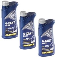 MANNOL 4-Takt Plus Motorrad Öl API SL 3x1 Liter