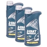 MANNOL 2-Takt Universal Motorradöl API TC 3x1 Liter