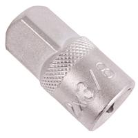 Adapter, matt verchromt, 12,5 (1/2) außen - 10 (3/8) innen