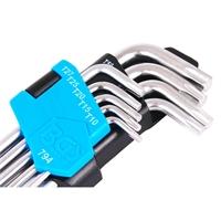 T-Profil-Winkelschlüssel-Set, mit Bohrung auf langer Seite, T10-50, extra lang, 9-tlg.