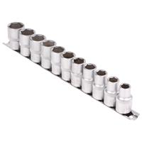 Steckschlüsseleinsatz-Set, 12,5 (1/2), 6-kant, 10 - 21 mm, 11-tlg.
