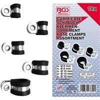 Gummierte Schlauchklemmen-Sortiment | Ø 6 - 16 mm | 18-teilig