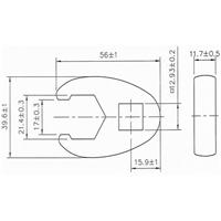21 mm Hahnenfuss-Schlüssel, 12,5 (1/2)