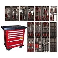 Werkstattwagen, 6 Schubladen, inkl. 118 Werkzeugen