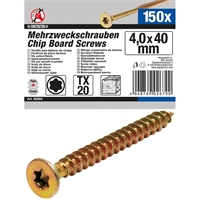 Mehrzweckschrauben   T-Profil (für Torx) T20   4,0 x 40 mm   150 Stück