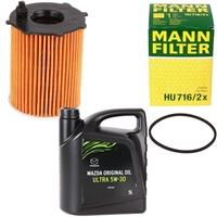 Mann Filter Ölfilter HU716/2x + MAZDA Original Oil Ultra 5w-30 DEXELIA 5 Liter