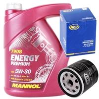 SCT Germany Ölfilter + Mannol Energy Premium 5W-30, 5 Liter
