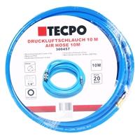 TECPO Druckluftschlauch 10 m + Schlauchaufroller Automatik 15m für Wandmontage mit Zubehör
