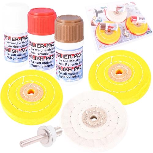 BGS Polierset mit Polierscheiben 100 mm und Polierpaste 7-teilig