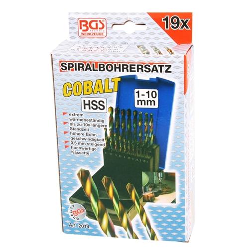 Spiralbohrersatz, HSS, 1-10 mm, Cobalt beschichtet
