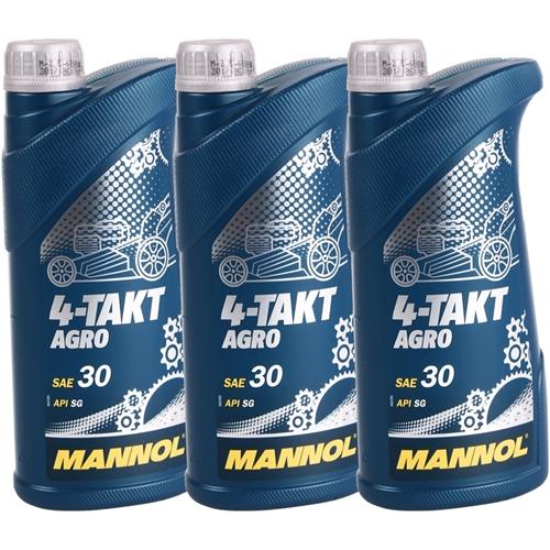 Motoröl für Gartengeräte, 4-TAKT AGRO SAE 30, 3x1L